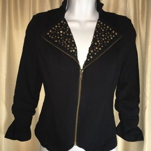 Womens short jacket blazer studded collar Sz S